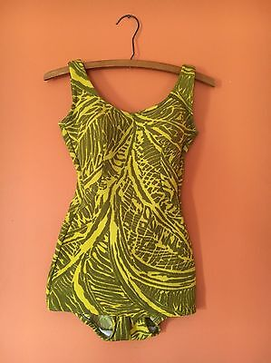 50s Vtg Cole Of California Swimsuit, Mustard Yellow And Olive Green, Pin-up Prop