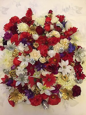 25 Christmas Flower Heads Blooms Artificial Fake Joblot Wreath Craft Decoration