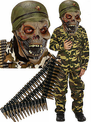 y Boys Soldier Fancy Dress Costume Outfit Mask + Bullet Belt (Halloween Army)