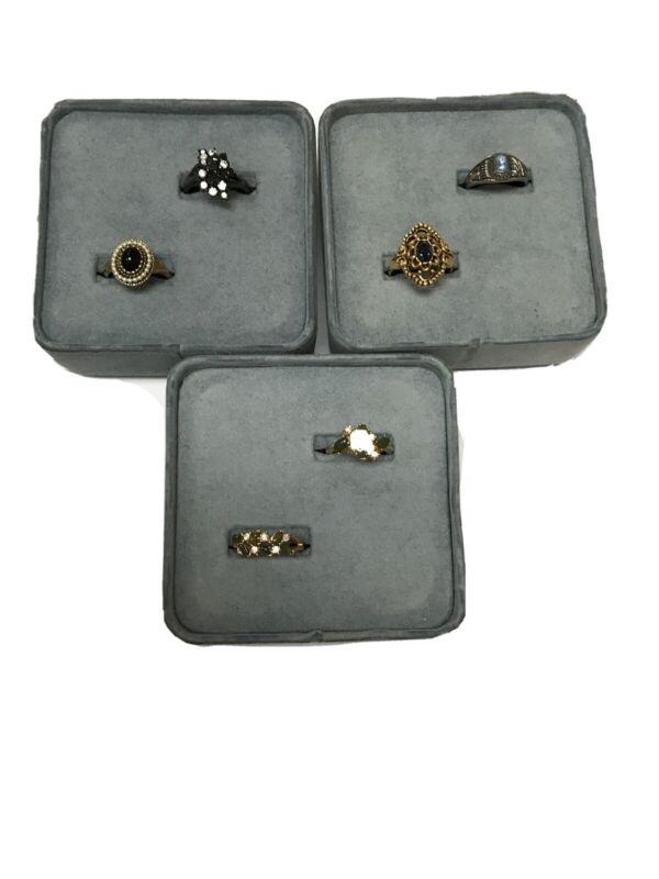 LADIES GOLD / SILVER TONE RHINESTONE RING LOT MIXED SIZES 5.5-9 AVON/CLASS RING
