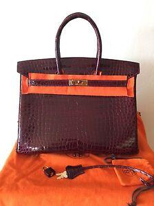 88452dbc4aa Authentic Hermes Birkin 35 Bordeaux Porosus Crocodile Gold Hardware
