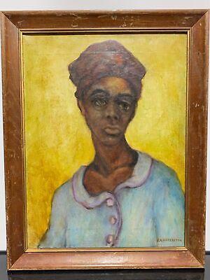 Vtg RARE Signed EDWIN HARLESTON American Folk Art Portrait Oil Painting Listed