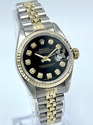 Ladies Rolex Datejust 26mm Black Diamond Dial 6917 Steel and Gold Jubilee