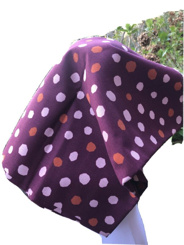 """NEW CUT, LINEN FABRIC DEEP WINE WITH PINK/ RUST ABSTRACT DOTS. 1 YD + 21"""""""
