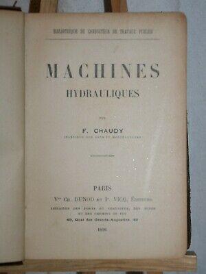ANCIEN LIVRE MACHINES HYDRAULIQUES DE 1896.
