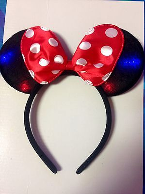 1pc Minnie Mouse Red Bow Light Up Polka Dot Ears Mickey Headband-Disney Costume](Minnie Mouse Bow Light Up)