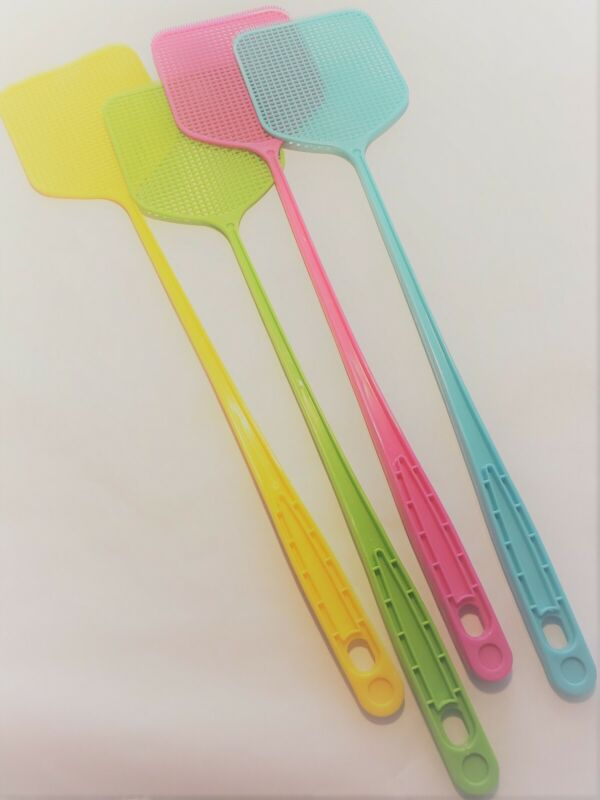 Fly Swatter, Strong Flexible Manual Swat Set Pest Control. Asst. Colors 4 Pack