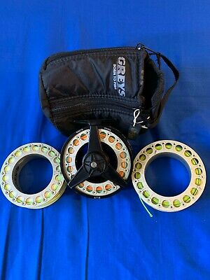 Greys GX500 Fly Fishing Reel with 3 Spools loaded with good lines.