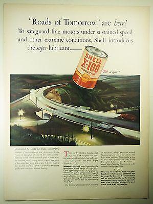 Vintage 1941 SHELL GASOLINE Lg Magazine Print Ad: ROADS OF TOMORROW