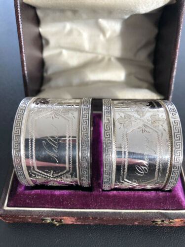 Cased Pair of Victorian Engraved Sterling Silver Napkin Rings