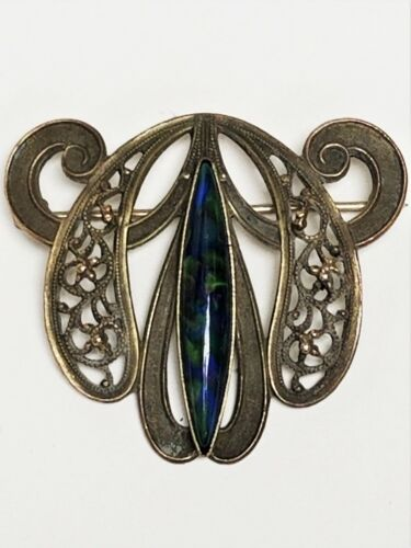 Antique Art Nouveau Jugendstil Brass Blue & Green Art Glass Brooch C-Clasp