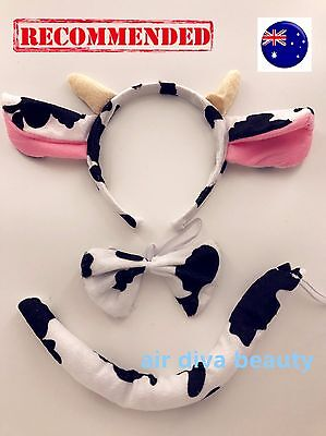 Lady Kid Child Boy Girl baby Cow Costume Ear tail Party Hair head band Prop set - Cow Costume Ears