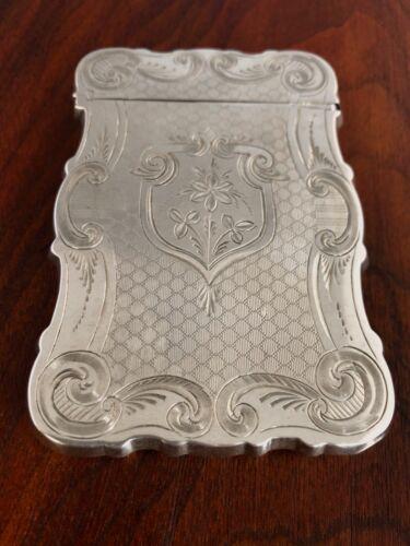 - PRISTINE AMERICAN COIN SILVER CARD CASE: ROCOCO BORDERS DESIGN c. 1850