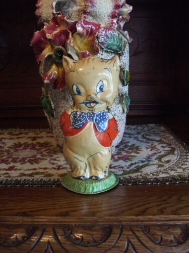 """Vintage Tin Toy Porky Pig Warner Brothers Rare with Base Made in Hollywood 6 ½"""""""