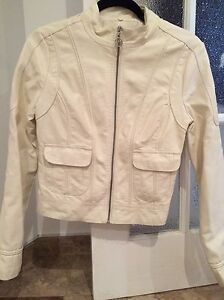 Size small black or cream coloured fake leather jacket