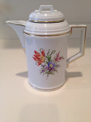 Hochst Hand-Painted Porcelain Floral Coffee Pot Made in Germany New