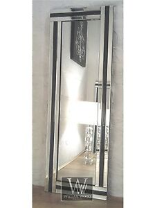 Eva black glass framed full length bevelled wall mirror 24 for Black full length wall mirror