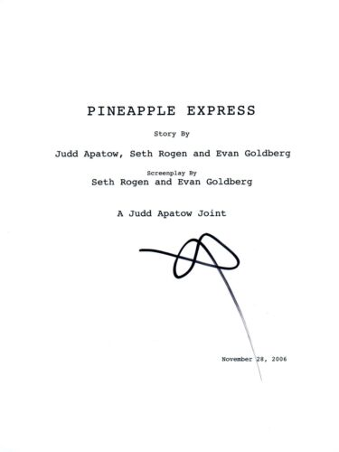 Seth Rogen Signed Autographed PINEAPPLE EXPRESS Full Movie Script COA
