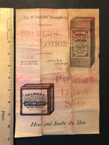Palmers Lotion And Soap Advertising Thin Paper 2 Color Printing VINTAGE 1800s