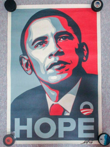 Shepard Fairey Signed 24x36 Obama HOPE Campaign Poster EXACT Proof JSA Barack