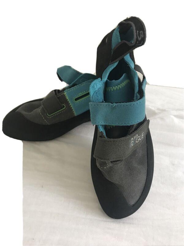 Five Ten 5.10 Rogue Kids Climbing Shoes Stealth Black Teal EUR 37 US 5 UK 4 EUC