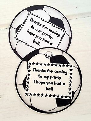 PERSONALISED FOOTBALL SHAPED, FOOTBALL THEMED FAVOUR TAGS - PACK OF 12 - GIFTS](Football Themed Favors)
