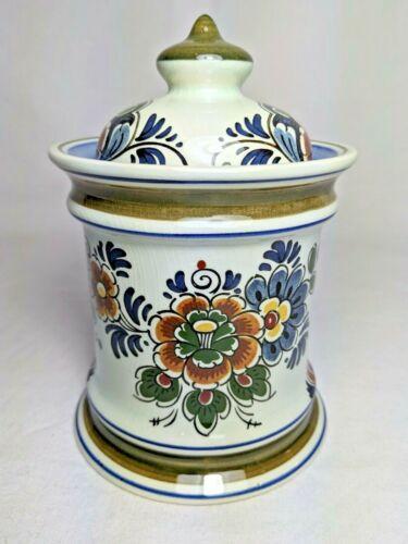 VTG Delft Polychrome Holland Handwerk Floral Green Blue Pottery Lidded Jar