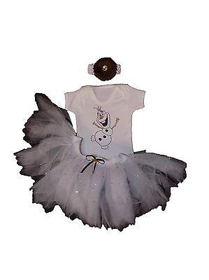 Olaf Frozen Snowman Sparkle Girls Tutu Skirt Set Baby Fancy Dress Cake Smash