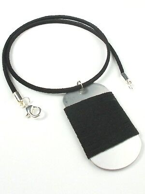 - Army Military Dog Tag Men's Black Suede Leather Pendant Necklace Lobster Clasp