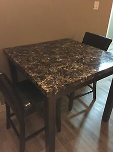 Faux marble high top table with chairs