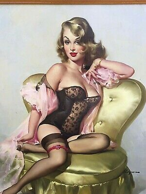 Gil ELVGREN ORIGINAL Painting SITTING PRETTY LOLA Pin-Up CORSET pinup STOCKINGS