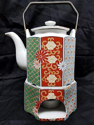 Vintage Teapot with Warming Stand Arita Imari Fan Fine  Porcelain Octagon