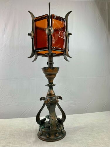Vintage Wrought Iron Hand Blown Amber Glass Medieval Gothic Castle Table Lamp