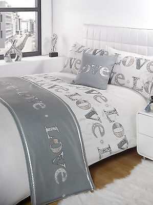 5pc Love Silver King Size Bed In A Bag Duvet / Quilt Cover Bedding Set