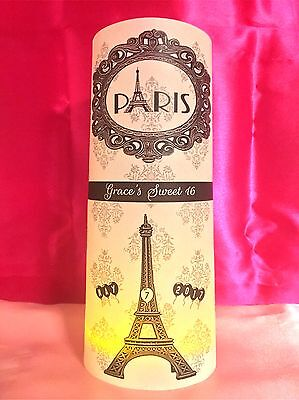 10 Personalized Paris Theme Eiffel Tower Luminaries Parisian Table Centerpieces - Sweet 16 Theme