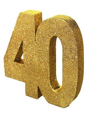 Gold Glitter 40th Birthday/Anniversary Celebration Centrepiece Table Decoration - 40th Birthday Table Centerpieces