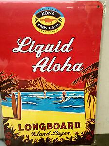 Longboard Island Lager - Liquid Aloha - Kona Brewing Beer metal sign NEW 18