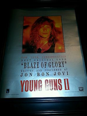 Jon Bon Jovi Blaze Of Glory Young Guns Ii Rare Oscar Promo Poster Ad Framed