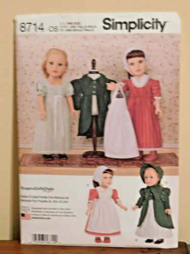 """8714 Simplicity Sewing Doll Clothes Pattern Size 18"""" American Girl Bonnet"""