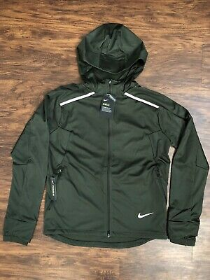 Men's Nike Shield Hooded Running Jacket Sequoia S-XL BV4880-355 100% Authentic