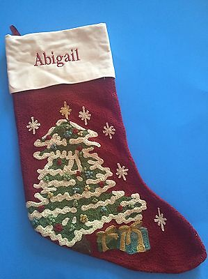 NEW POTTERY BARN Christmas Tree Classic CREWEL STOCKING ABIGAIL