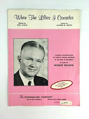 When The Lilies I Consider Sheet Music Piano Vocal Religious Wilbur Nelson 1969