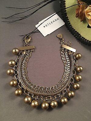 Silpada Gold Brass Layered Beaded Chain Link Cha Cha Charm Bracelet NWT!!!