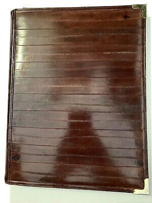 Eel Skin Writing Pad Cover Portfolio 8.5 X 11 Notebook Brown