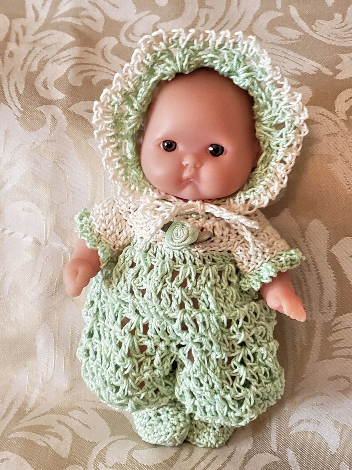 Romper Set For 5 Mini Baby Doll Berenguer Crochet Clothes Outfit Itty Bitty - $18.75