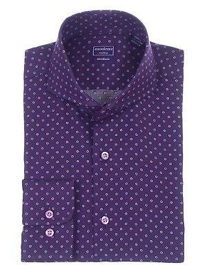 Mens Regular Fit Purple Circle Dot Pattern Cutaway Collar Cotton Dress Shirt Cotton Dotted Pattern Dress Shirt