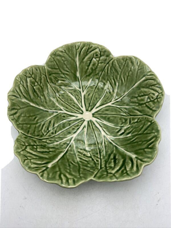 "Bordallo Pinheiro 11"" Green Cabbage Leaf Salad  Bowl Portugal Ceramic"