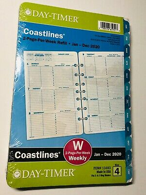 Day-timer Coastlines 2020 Weeklymonthly Planner 8.5x5.5 Refill Size 4