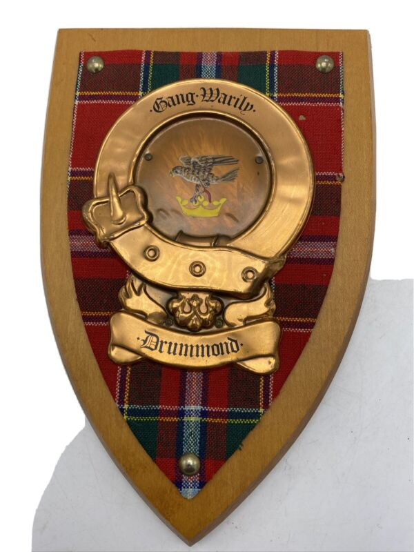 Drummond Scottish Family Clan Crest Coat Of Arms Tartan Copper Wood Wall Plaque