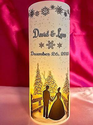 Winter Wonderland Centerpieces (10 Personalized Wedding Luminaries Table Centerpieces Decor Winter Snowflakes)